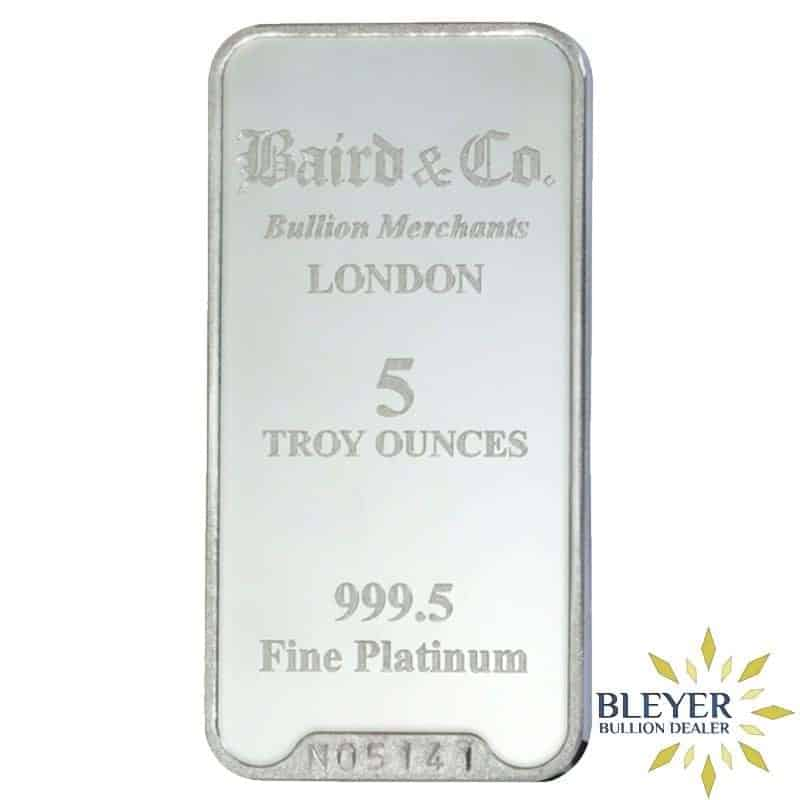 5oz Baird & Co Minted Platinum Bar