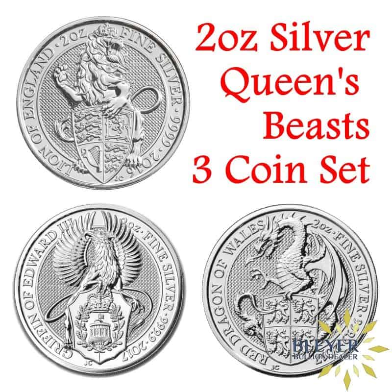 2oz Silver UK Queen's Beasts 3 Coin Set