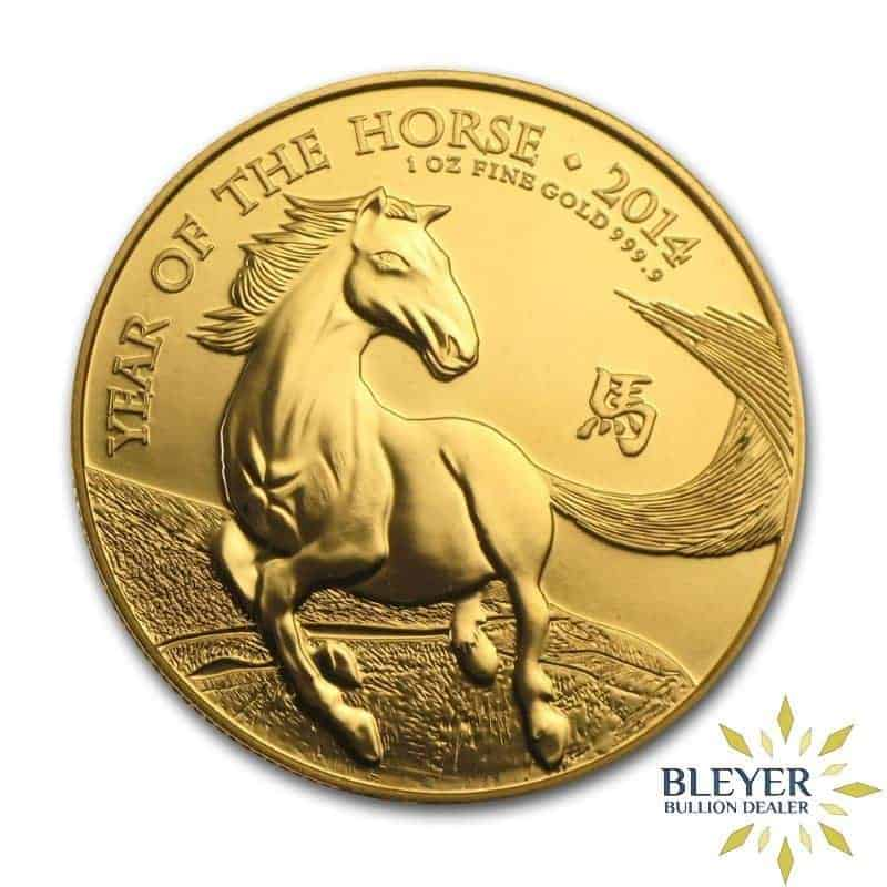 Pre-owned 1oz Gold UK Lunar Horse Coin, 2014