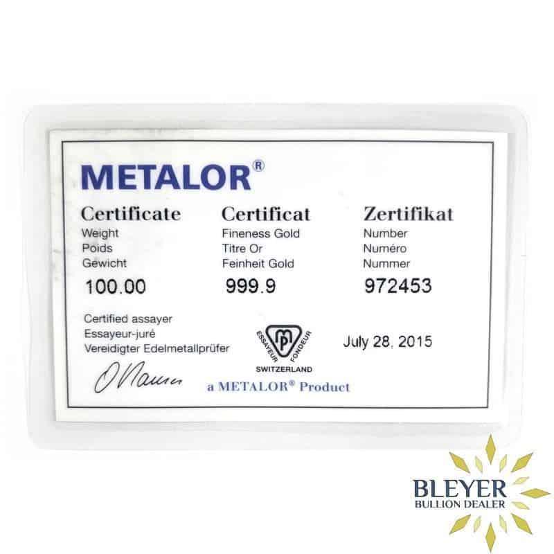 100g Metalor Cast Gold Bar