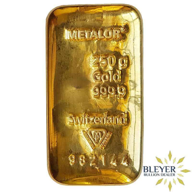 Pre-owned 250g Metalor Cast Gold Bar