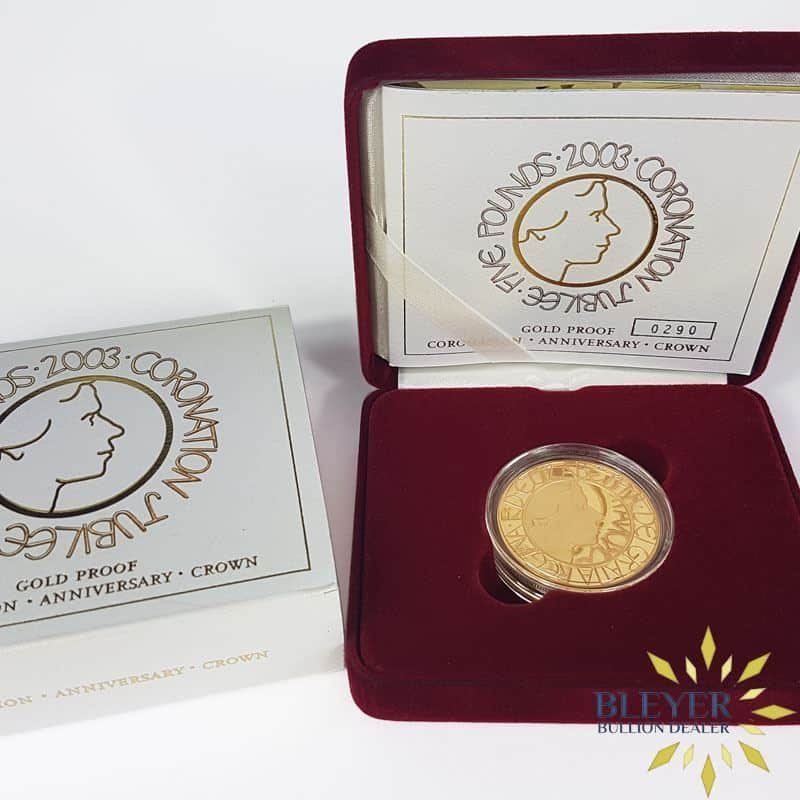 Proof £5 Gold Crown - 2003 Coronation Jubilee Boxed (Quintuple Sovereign)