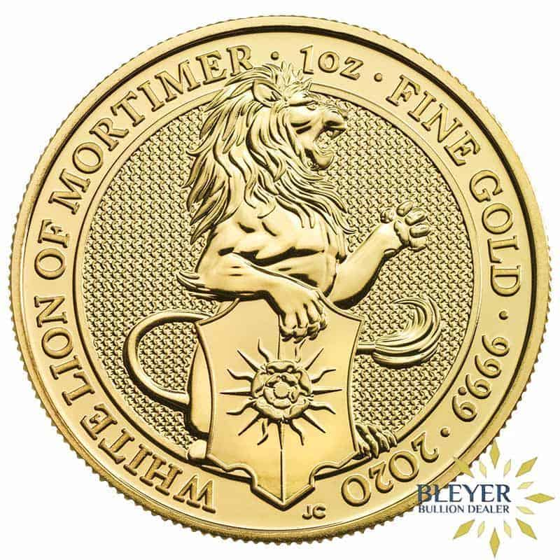 1oz Gold UK Queen's Beasts White Lion of Mortimer Coin, 2020