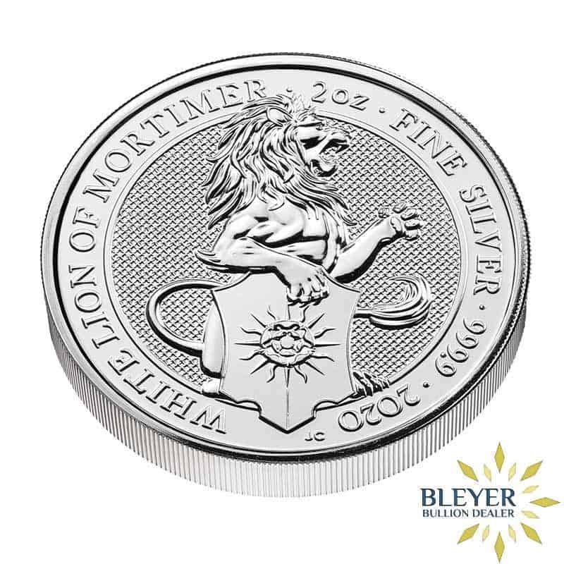 2oz Silver UK Queen's Beast White Lion of Mortimer Coin, 2020