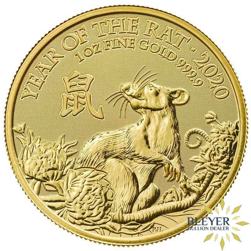 1oz Gold UK Lunar Rat Coin, 2020