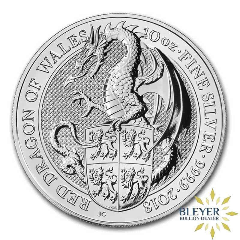 10oz Silver UK Queen's Beasts Dragon, 2018