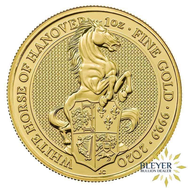 1oz Gold UK Queen's Beasts The White Horse of Hanover Coin, 2020