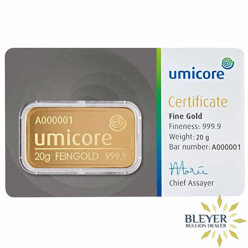 20g Umicore Minted Gold Bar
