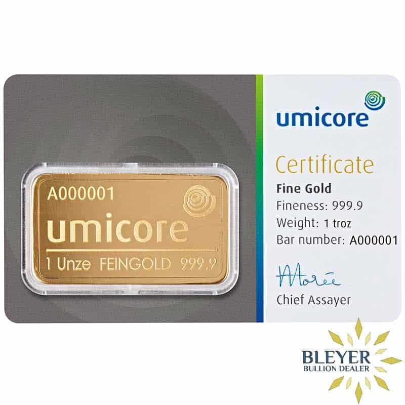 1oz Umicore Minted Gold Bar