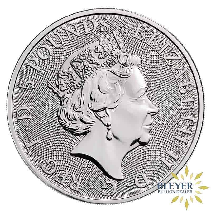 2oz Silver UK Queen's Beast The White Greyhound Of Richmond Coin, 2021