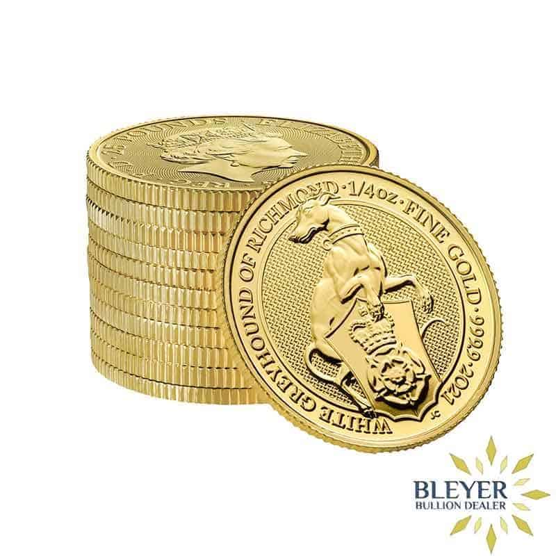 1/4oz Gold UK Queen's Beasts The White Greyhound Of Richmond Coin, 2021