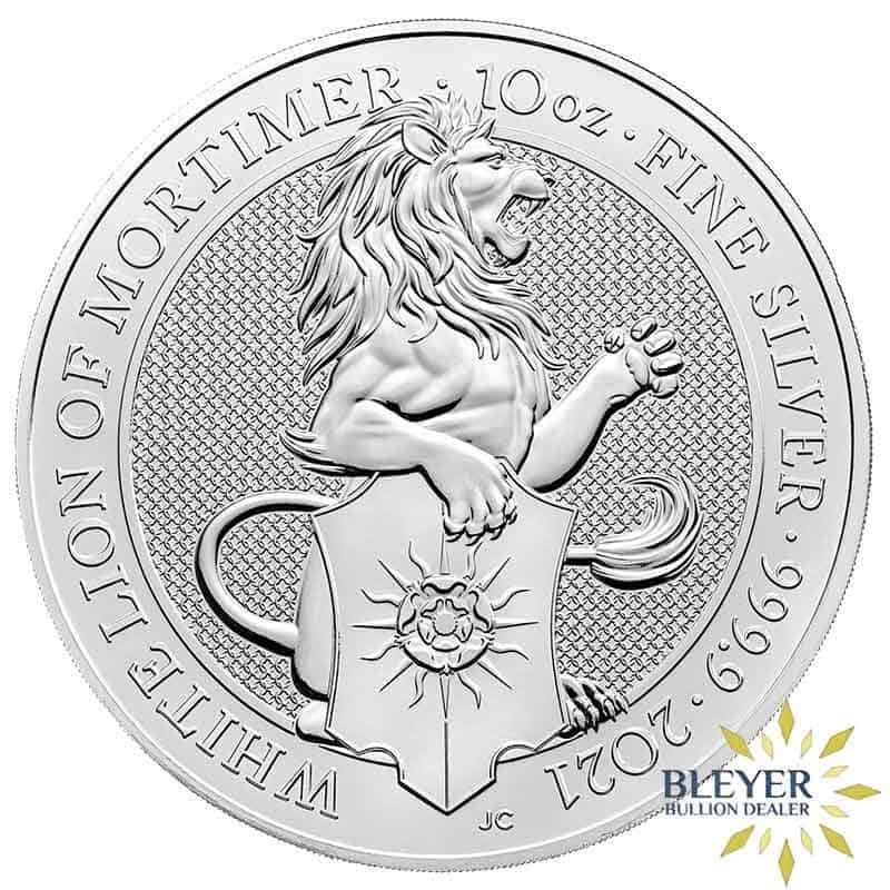 10oz Silver UK Queen's Beasts The White Lion of Mortimer 2021