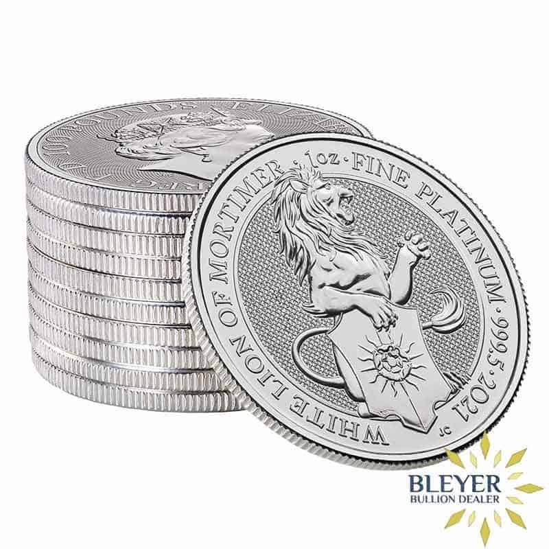 Pre-Order 1oz Platinum UK Queen's Beasts White Lion of Mortimer, 2021