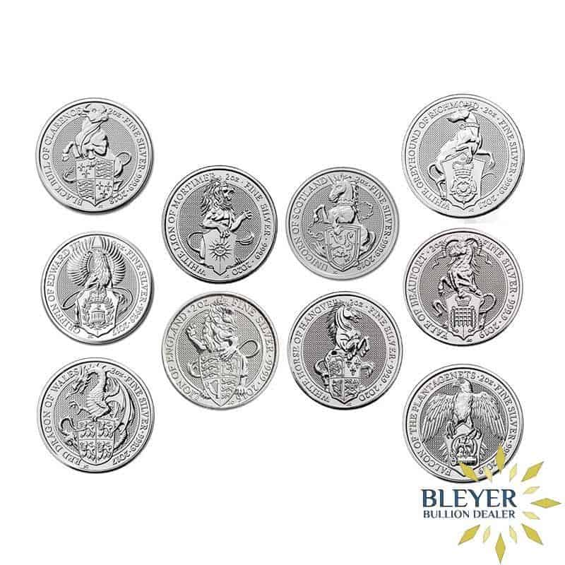 2oz Silver UK Queen's Beasts 10 Coin Set