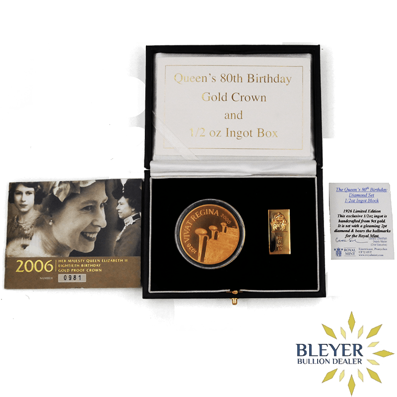 Royal Mint Queen's 80th Birthday Gold Crown and 1/2 oz Ingot Box, 2006 Proof