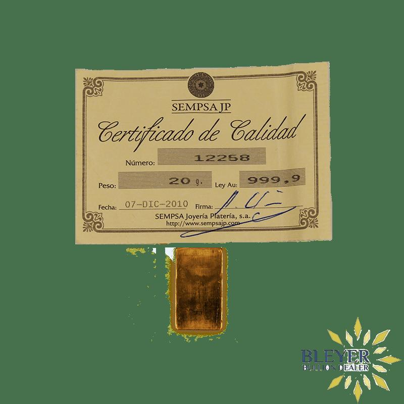 20g Sempsa Gold Bar, Minted