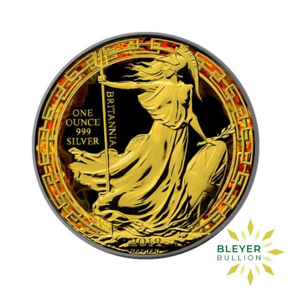 Bleyers Coin 1oz Silver Colourised Burning Britannia 2019 1