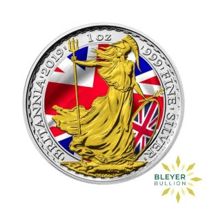 Bleyers Coin 1oz Silver Colourised Patriot Britannia 2019 1