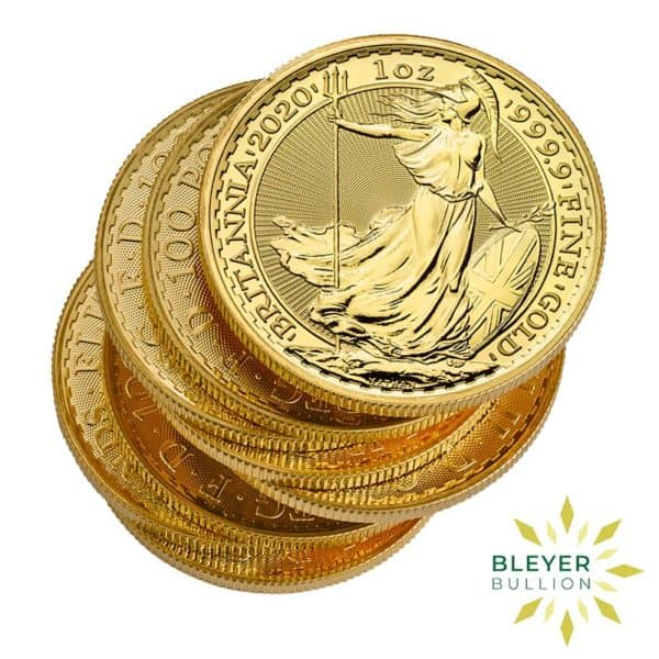 Bleyers Coin Cutouts 2020 Gold UK Britannia Coins 1oz Stack