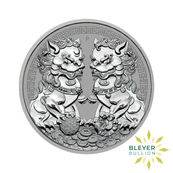 Bleyers Coin 1oz Silver Australian Guardian Lions Double Pixiu Coin 2020 Front1