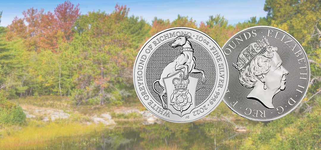 NEW The Royal Mint's 2022 10oz Silver White Greyhound of Richmond Coin